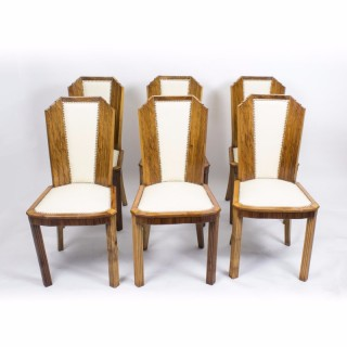 Antique Set 6 Art Deco Skyscraper Walnut Chairs C1930