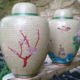 Pair of Chinese Cloisonné Enamel Ginger Jars