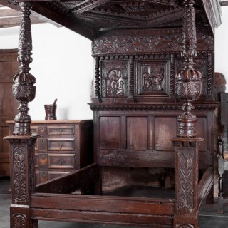 James I oak tester bedstead