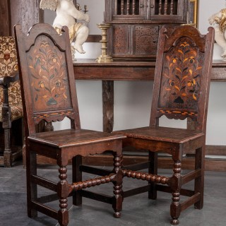 Pair of 17th century inlaid backstools