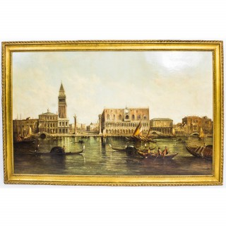 Antique Oil Painting Doge's Palace & St Marks Square Alfred Pollentine c1874