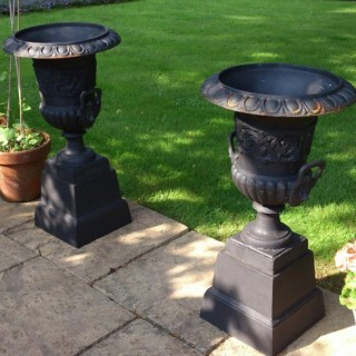 Pair of 19th Century Victorian Cast Iron Urns