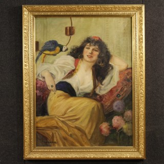20th Century Signed Painting Portrait Of Woman With Parrot