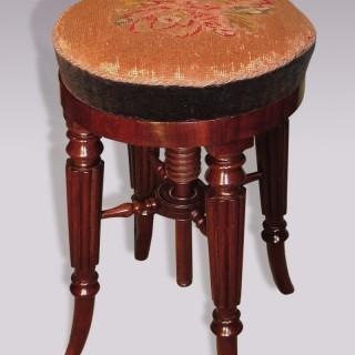 Regency period mahogany adjustable Piano Stool.