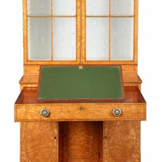 George III satinwood secretaire cabinet attributed to Thomas Sheraton