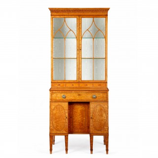 George III satinwood secretaire cabinet attributed to Thomas Sheraton