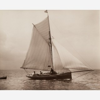 Early silver gelatin photographic print by Beken of Cowes - Yacht Witch towing tender
