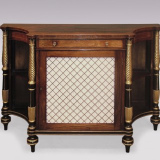 A Regency period rosewood, giltwood and black painted Chiffonier.