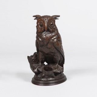 Black Forest Tobacco Pot of a Horned Owl