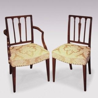 A set of 6 single and 2 arm George III period mahogany Dining Chairs.