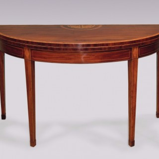 Late 18th Century mahogany large Demi-Lune Card Table.