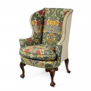 George II carved walnut wing back armchair