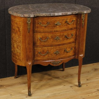 20th Century French Inlaid Commode With Marble Top