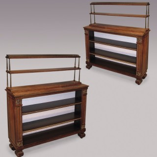 A pair of 19th Century Regency period rosewood Open Bookshelves.