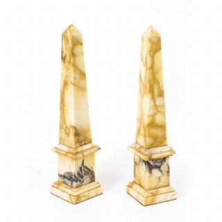 Antique Pair Grand Tour Convent Siena Marble Obelisks C.1890