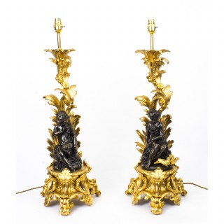 Antique Pair French Ormolu & Patinated Bronze Table Lamps C1870