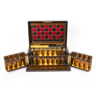 Antique Victorian Coromandel Games Compendium Chess Drafts C1860