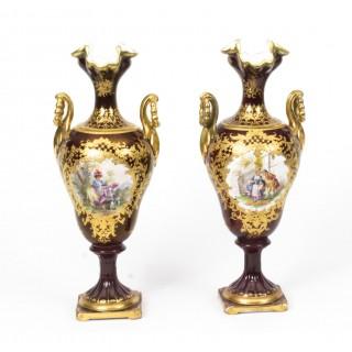 Antique Pair Helena Wolfsohn Dresden Porcelain Vases c.1880