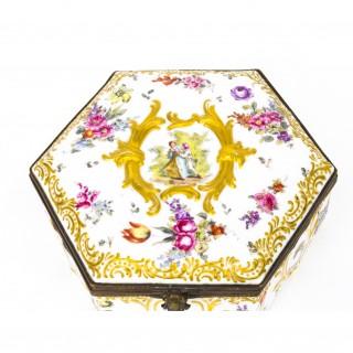 Antique Ludwisburg Dresden Porcelain Jewellery Casket C1880