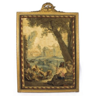Antique French Aubusson Tapestry In Giltwood Frame C1800