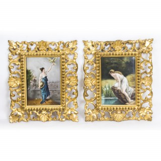 Antique Pair Berlin Plaques of 2 Maidens in Gilt Florentine Frames C1885