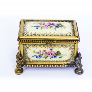 Antique Ormolu Mounted Limoges Enamel Jewel Casket Box c.1870