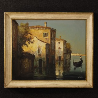 20th Century French Signed Painting Depicting Venice Glimpse