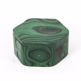 Antique Malachite Hexagonal Box & Cover Casket C1880