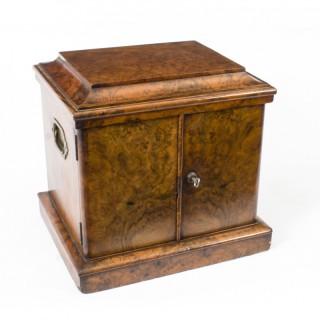 Antique Victorian Burr Walnut Cigar Humidor Box C1870