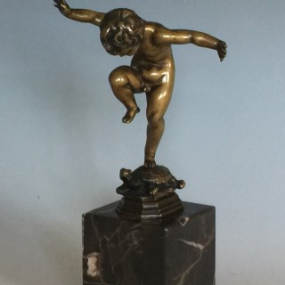 Patinated Bronze Figure of a Boy on a Tortoise