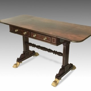 Regency Rosewood & Brass Inlaid Sofa Table Attributed to Gillows