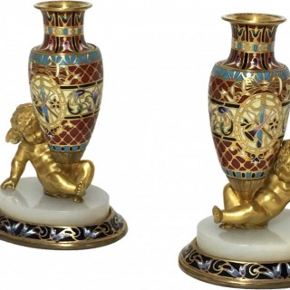 French Gilt Bronze & Champlevé Vases Supported by Cherubs