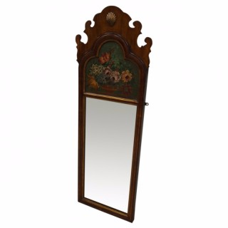 George I Style Walnut and Painted Mirror