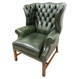 George III Style Green Leather Wing Chair