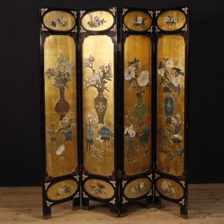 French lacquered and golden chinoiserie screen