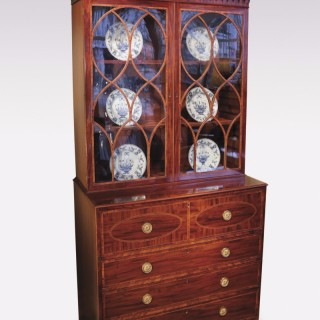 Late 18th Century well figured mahogany Secretaire Bookcase.