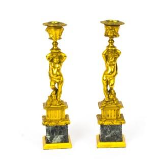 Antique Pair French Ormolu Cherub Candlesticks c.1870