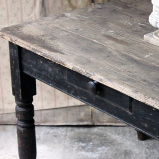 A Decorative Black Painted Victorian Farmhouse Pine Table c.1870
