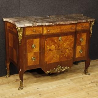 20th Century Inlaid Chest Of Drawers With Marble Top