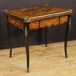 20th Century French Inlaid Game Table With Gilt Bronze