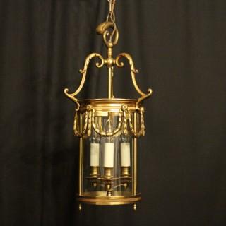 French Gilded Bronze Antique Hall Lantern