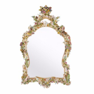 Large Antique German Polychrome Porcelain Mirror by Meissen