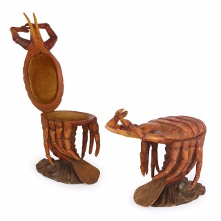 Pair of Italian Crab-Form Grotto Chairs, Attributed to Pauly et Cie, Venice