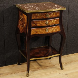 20th Century Inlaid Night Stand With Marble Top