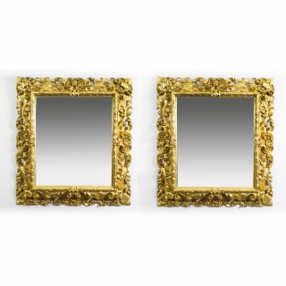 Antique Pair Florentine Giltwood Mirrors c.1870 - 104 x 94 cm