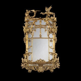 Irish Giltwood Looking Glass in the Rococo Manner