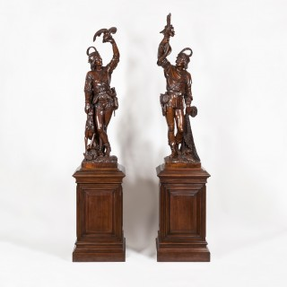 Pair of Exhibition Quality Carved Figures on Plinths Firmly Attributed to Valentino Panciera Besarel