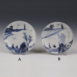 Kangxi white and blue saucer with landscape