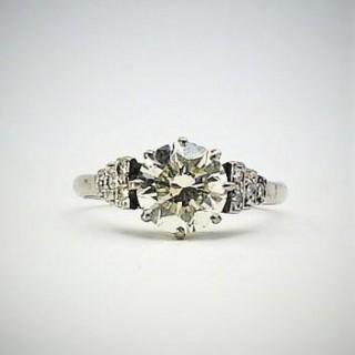 Art Deco Diamond Solitaire Ring 1.75 Carats