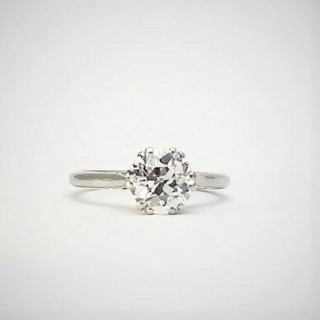 Platinum and White Gold Diamond Solitaire Ring 1.60 Carats